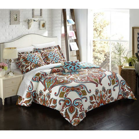Chic Home Evans 4-Piece Reversible Duvet Cover Set with Decorative Shams, Blue