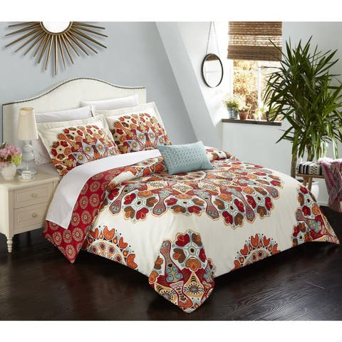 Chic Home Henstridge 4-Piece Reversible Duvet Cover Set with Decorative Shams, Red