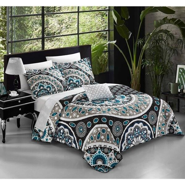 Chic Home Mikado 4-piece Black Reversible Duvet Cover Set with Decorative Shams