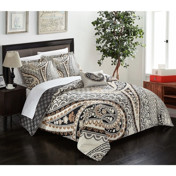 Chic Home Cerys 8-piece Reversible Duvet Cover Set with Sheet Sets,  Beige
