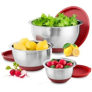 Belmint 3-Piece Stainless Steel Mixing Bowls with Lids & Non-Skid Rubber Grip Bottoms