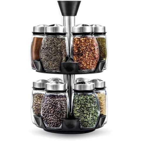 Spice Jar Rack with 12 Glass Jars