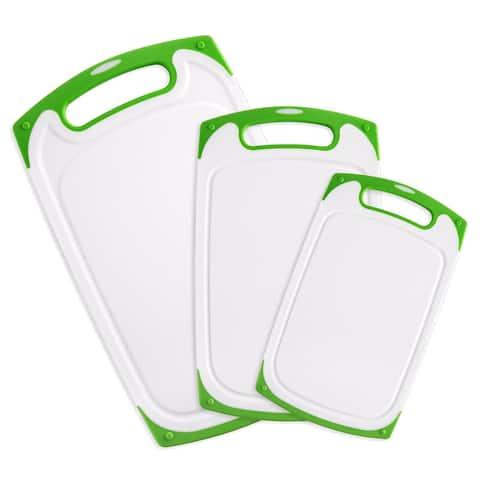 Belwares Cutting Board w/ Non-Slip Feet & Drip Groove Set of 3 - Green