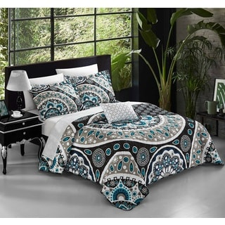 Chic Home Mikado 8-piece Black Reversible Duvet Cover Set with Sheet Sets