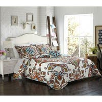 Chic Home Bretagne 8-piece Complete Bed in a Bag Reversible Quilt Set with Decorative Pillows and Shams,  Blue