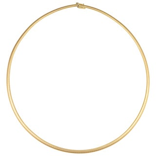 Fremada Italian 14k Yellow Gold Domed Omega Necklace (3-mm, 17 inches)