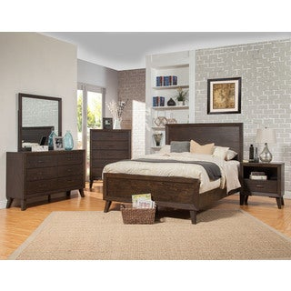 Alpine Alcott Brown Acacia and Rubberwood Panel Bed