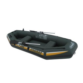 Fishman II 400 Green/Yellow 116-inch 3-person Inflatable Boat Set