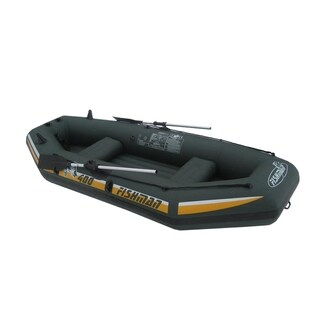 """116"""" Green and Yellow """"Fishman II 400"""" Three Person Inflatable Boat Set"""