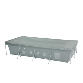 12.9' Durable Apertured Rectangular Gray Pool Cover with Rope Ties - Silver