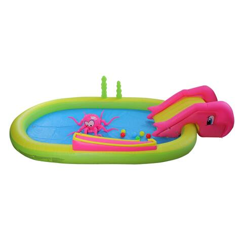 """117"""" Ocean Life Themed Inflatable Children's Play Pool with Slide"""