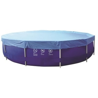 12.3' Durable Apertured Round Blue Swimming Pool Cover with Rope Ties