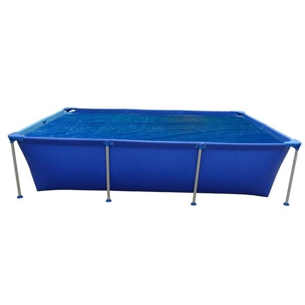 12.8' Blue Rectangular Floating Solar Cover for Steel Frame Swimming Pool