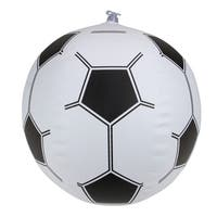 "16"" Black and White 6-Panel Inflatable Beach Soccerball Swimming Pool Toy"