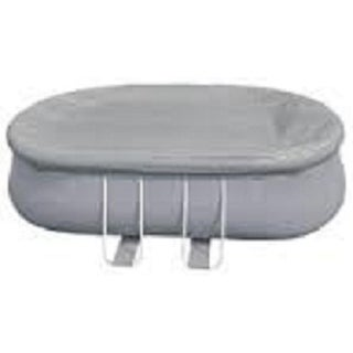 19.5' Durable Apertured Oval Shaped Gray Pool Cover with Rope Ties - Silver