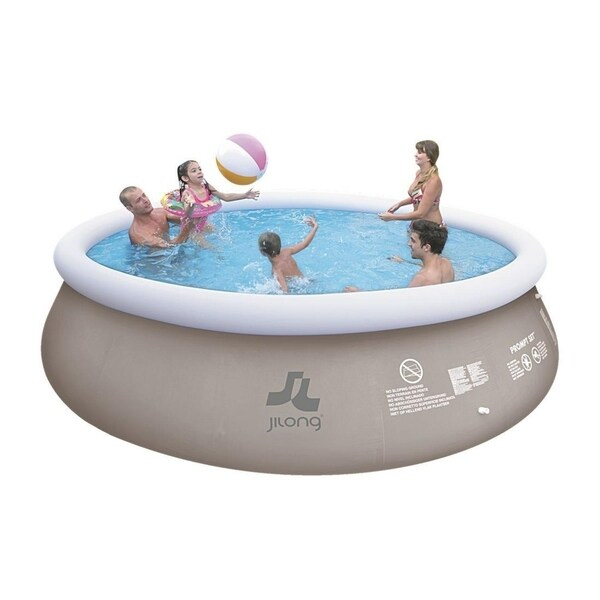 """15' x 48"""" Gray and White Inflatable Above Ground Prompt Swimming Pool Set - Silver"""