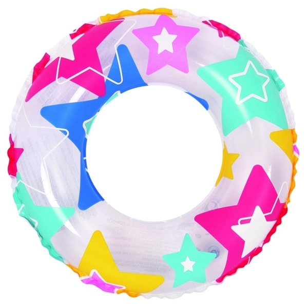 """24"""" Colorful Star Print Inflatable Swimming Pool Inner Tube Ring Float"""