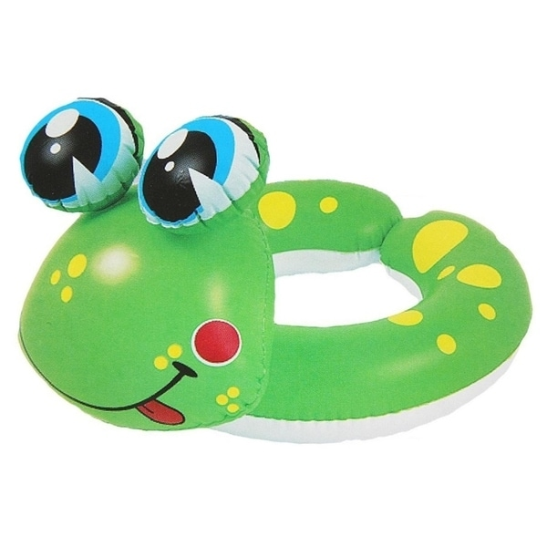 "24"" Green and Yellow Frog Children's Inflatable Swimming Pool Split Ring Inner Tube"