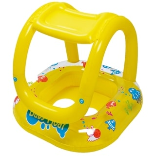 """26"""" Yellow Sea Creatures Inflatable Swimming Pool Baby Float with Sunshade"""