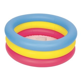 "30"" Inflatable Pink  Yellow and Blue Children's Swimming Pool"