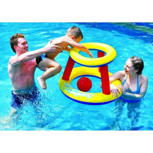 "29"" Red Yellow and Blue Inflatable Swimming Pool Water Sports Basketball Game Set"