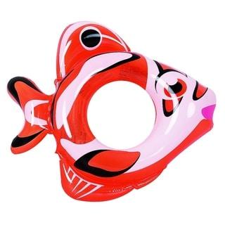 "34"" Orange and White Inflatable Fish Children's Swimming Pool Swim Ring Inner Tube"