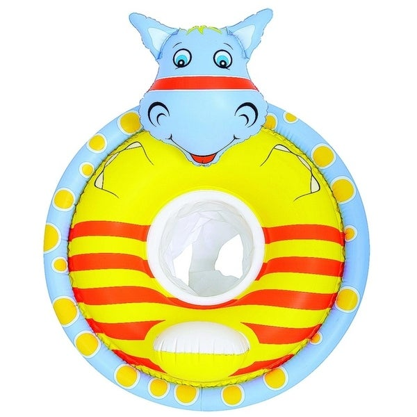 """31.5"""" Gray and Yellow Hippo Children's Inflatable Swimming Pool Baby Seat Float"""