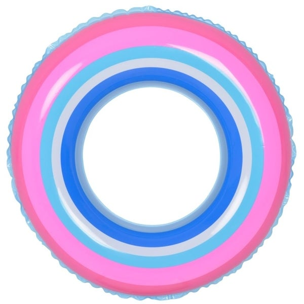 """35"""" Blue and Pink Stripe Inflatable Swimming Pool Inner Tube Ring Float"""