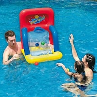 "34"" Red  Yellow and Blue Inflatable Swimming Pool Water Sports Basketball Shooting Game"