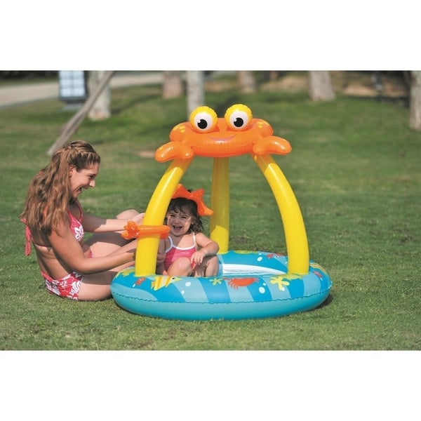 "39"" Blue and Yellow Inflatable Baby Swimming Pool with Crab Canopy"