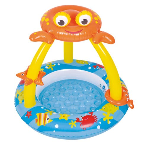 """39"""" Blue and Yellow Inflatable Baby Swimming Pool with Crab Canopy"""