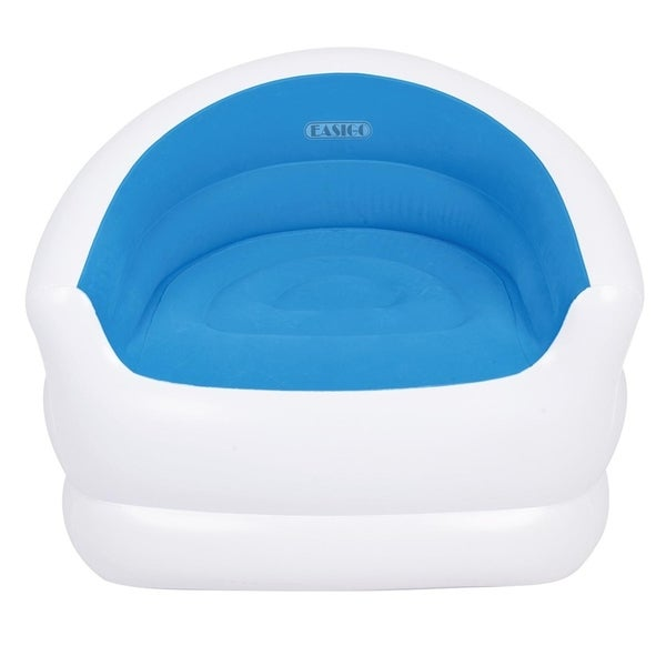 "37"" White and Blue Color-Splash Indoor/Outdoor Inflatable Lounge Chair"