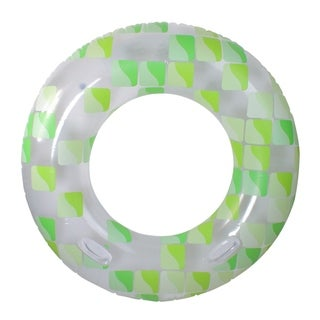 """47"""" Green and White Fashion Mosaic Inflatable Swimming Pool Inner Tube Ring Float with Handles"""