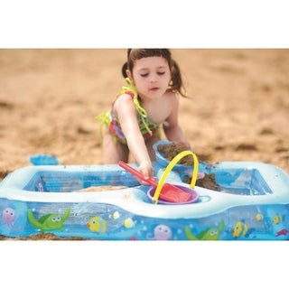 """35"""" Inflatable Sand and Sea Three Compartment Children's Play Pool"""