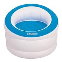 "35"" White and Cyan Blue Indoor/Outdoor Inflatable ""Easigo"" Chair"