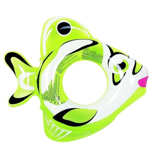 "34"" Green and White Inflatable Fish Children's Swimming Pool Swim Ring Inner Tube"