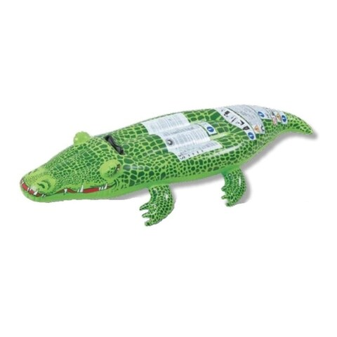 "56"" Spotted Green Crocodile Rider Inflatable Swimming Pool Float Toy with Handles"