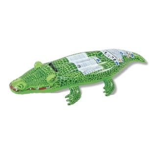 """56"""" Spotted Green Crocodile Rider Inflatable Swimming Pool Float Toy with Handles"""