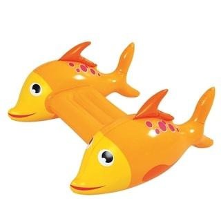 "34.5"" Yellow and Orange Dorado Fish Children's Inflatable Swimming Pool Kickboard"