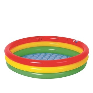 "59"" Red Yellow and Green Ringed Round Inflatable Baby Swimming Pool"