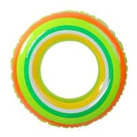 "35"" Green and Orange Stripe Inflatable Swimming Pool Inner Tube Ring Float"