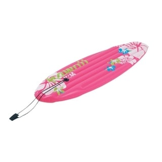 "59"" Pink Tropical Surfboard-Inspired Inflatable Swimming Pool Float"