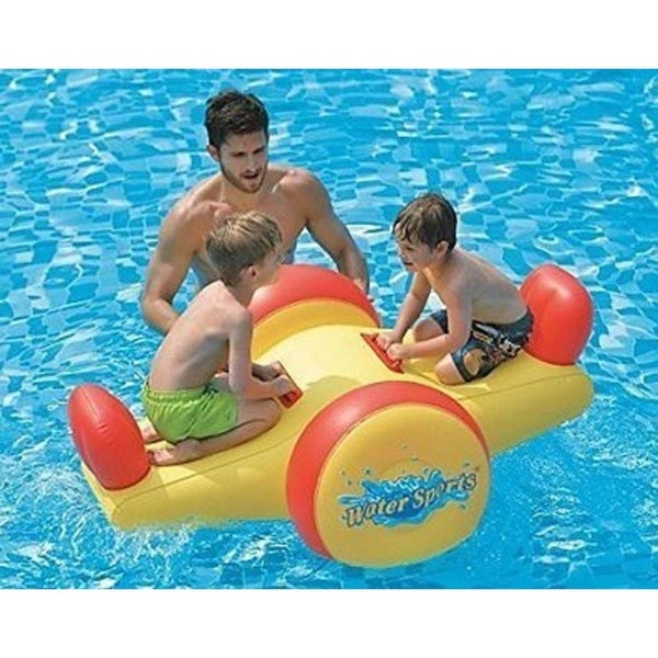 """57"""" Yellow and Red Children's Inflatable Water Sports Swimming Pool Seesaw Float"""