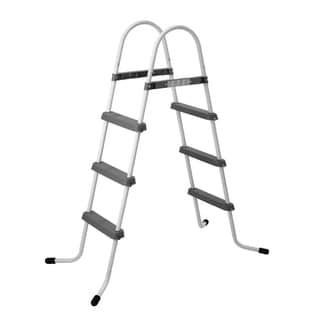 "56.3"" Three Step Above Ground Swimming Pool Deck Ladder - White"