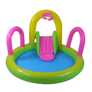 "57"" Bright Green  Yellow  and Pink Inflatable Children's Pool with Slide"