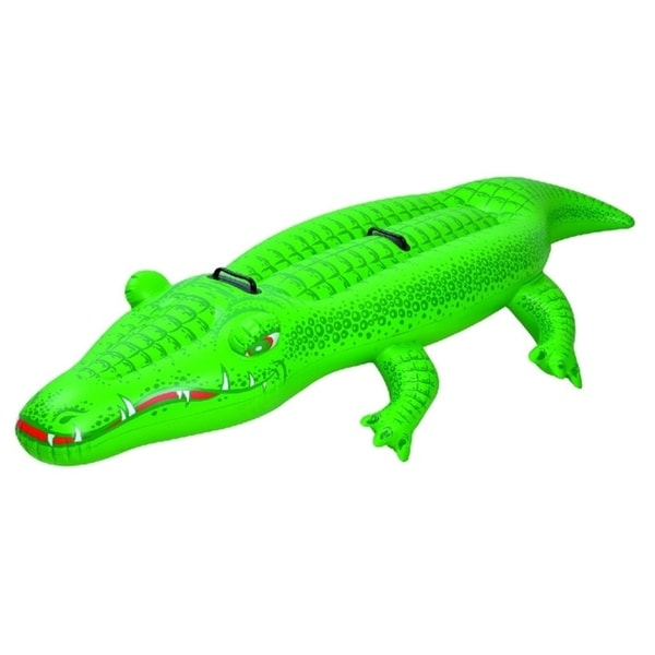 """78.5"""" Green Crocodile Rider Inflatable Swimming Pool Float Toy with Handles"""