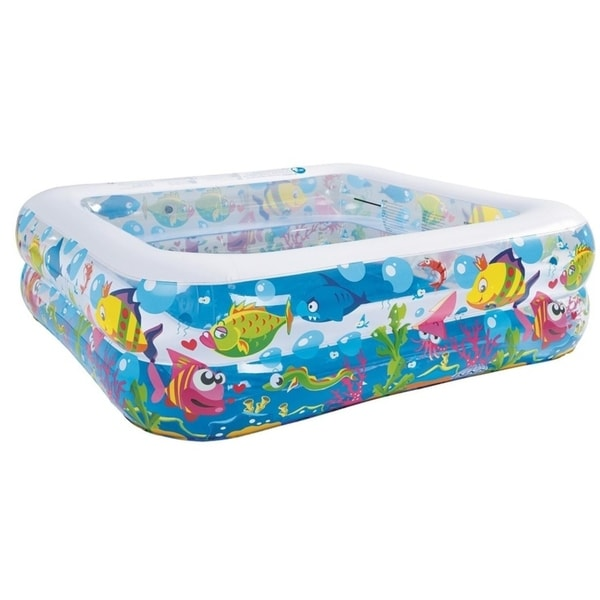 """57"""" Square Sea Life Themed Inflatable Children's Swimming Pool"""