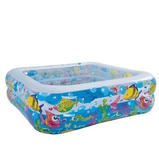 "57"" Square Sea Life Themed Inflatable Children's Swimming Pool"