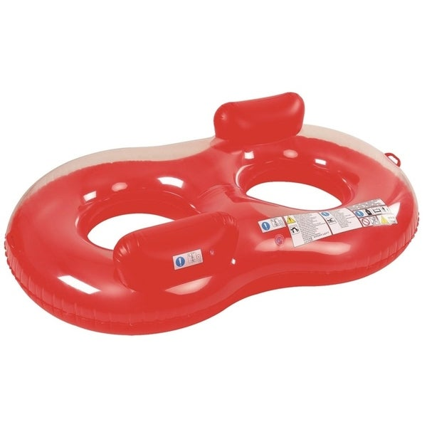 """74"""" Red and Transparent Duo Circular Inflatable Swimming Pool Lounger"""