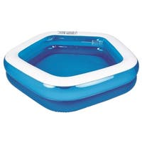 "79"" Blue and White Pentagon Inspired Inflatable Swimming Pool"